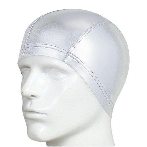 Besplore Adult Silicone Swim Cap Swimming Cap for Long Hair,Waterproof,Metallic Design,Unisex No-Slip for Adults Kids Woman and Men One Size Hat,Silver (Nemo Swim Cap)