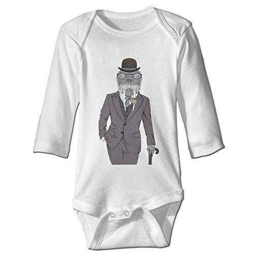 Maliin Baby Boys Girls Bodysuit Fashion Animal Cool Mr.Walrus Jumpsuit Onesies Long Sleeve Unisex White ()