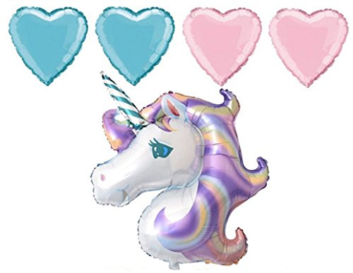 Unicorn Balloons for Birthday Party Decorations - Adults & Kids Birthday Balloon Supplies - Wedding or Baby Shower Themed Decoration - 5 pc Balloon Bundle by Jolly Jon ® (5 Piece Set)