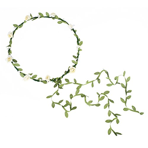 AWAYTR 2Pcs Fashion for Bohemian Style Wedding Bride Bridal Headdress Floral Flower Garland Headwear Headbands (Cream white)