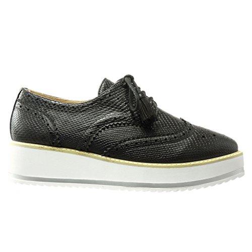4 5 Derby cm Perforado Zapato Low Angkorly Costura Acabado Serpiente Zapatillas Moda de Negro Plataforma Piel pespunte Mujer 6Zqx1Bnax