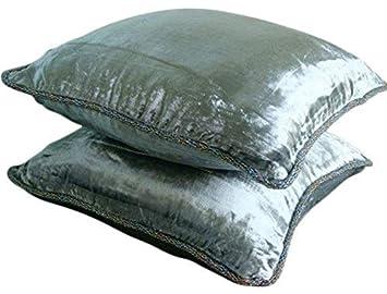 Silver Shimmer - Decorativa Funda de Cojin 40 x 40 cm, Square Plata Terciopelo Frontera de Cuentas Hecho A Mano