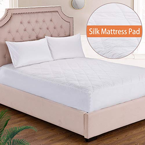 100% Silk Filled Mattress Pad, Keep Cool for Summer, Cotton Cover, 18 Inches Deep Pocket, Deep Pocket Fitted Skirt, Queen Size