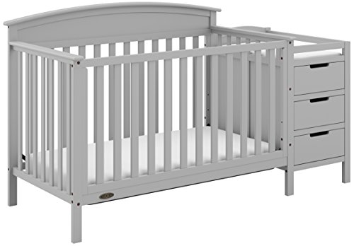 Graco Benton 4-in-1 Convertible Crib and Changer (Pebble Gray) - Attached Changing Table with Water-Resistant Changing Pad, Space-Saving Storage with 3 Drawers and 3 Open Shelves ()