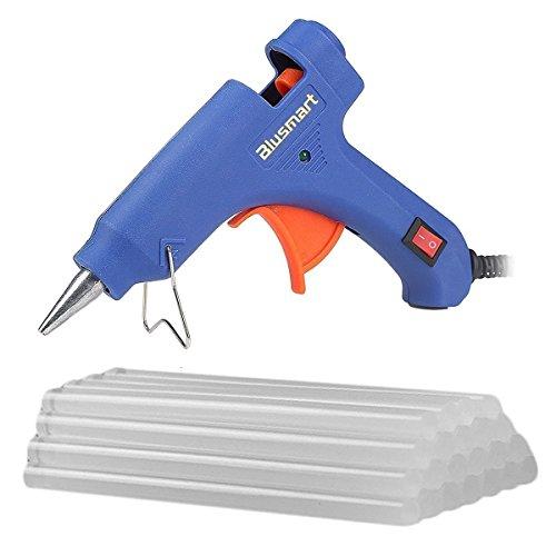 Blusmart Mini Hot Glue Gun with 25 Pieces Melt Glue Sticks, 20 Watts Blue High Temperature Glue Gun for DIY Craft Projects and Repair Kit