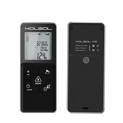 KOLSOL K100 Laser Distance Meter 100m/328ft/3937inch with integrated cross projection LCD Backlit Display Measure Distance,Area and Volume,Pythagorean Mode Range Finder by KOLSOL (Image #3)