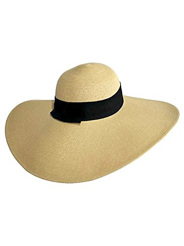 Luxury Divas Tan Wide Brimmed Floppy Hat with Black Ribbon Hat Band (Live Simply Hat)