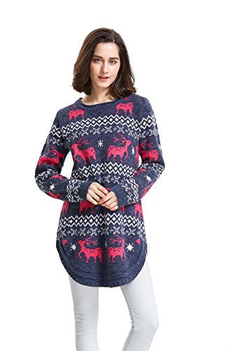 Shineflow Womens Reindeer Snowflake Midi Christmas Pullover Sweater Jumper, one size for all, Navy ()
