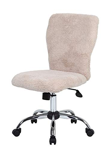 (DK Furniture Tiffany Fur Make-Up Modern Office Chair in Cream )