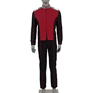 Mens Science Fiction Space Uniform Security Department Uniform Suit Include Shoulder Strap And Badges Cosplay Costumes For Halloween (Security Department, Costume-made)