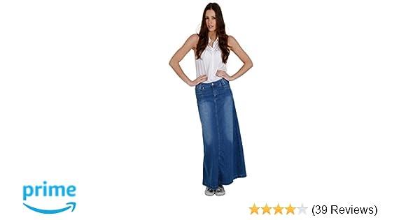 ba9c5d19d7 Denim Long Skirt - Stonewash Full Length Maxi Blue Womens Ladies SKIRT35 at  Amazon Women's Clothing store: Athletic Skirts