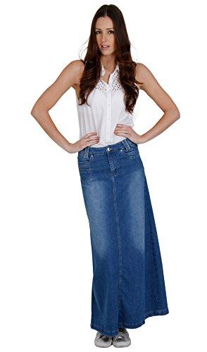 Cindy H Jupe Denim Longue Bleu Jupe Maxi Femme skirt mode SKIRT35