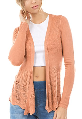 - Vialumi Women's Plus Size Solid Open Front Pointelle Cardigan Coral 3X