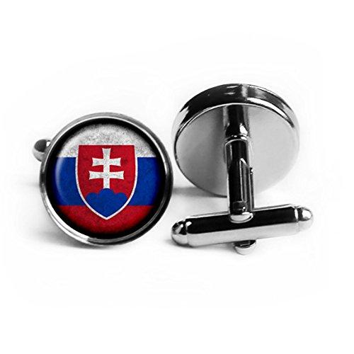 Slovakia Slovakian Flag Silver Cufflinks