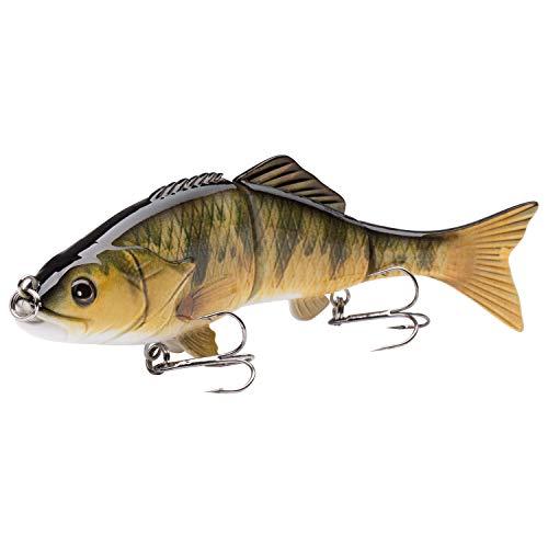 Bassdash SwimCarp Multi Jointed Baby Carp Minnow Swimbaits Slow Sink Bass Catfish Fishing Hard Crankbait Lure 4.3in 0.81oz, 4 Colors (Yellow Perch) (Best Yellow Perch Lures)