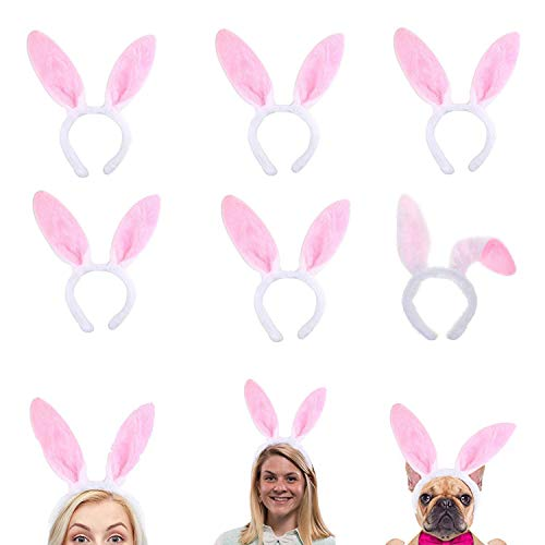 Plush Bunny Ears Hairbands, Cute Bunny Headband Easter Bunny Ears Hairbands for Party Decoration Party Favor, 6 PCS -