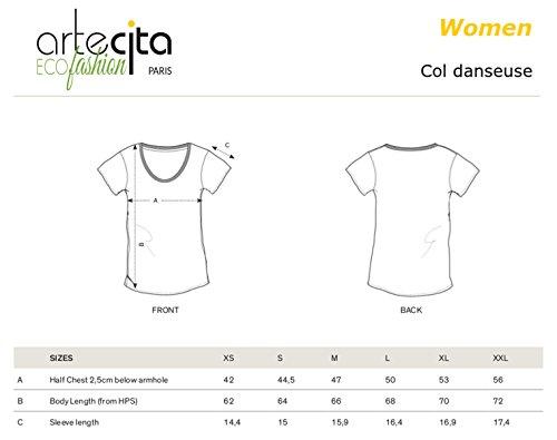 T-Shirt Imprimé Bio Blanc Manches courtes - Panda ethnik - Femme du XS au XXL