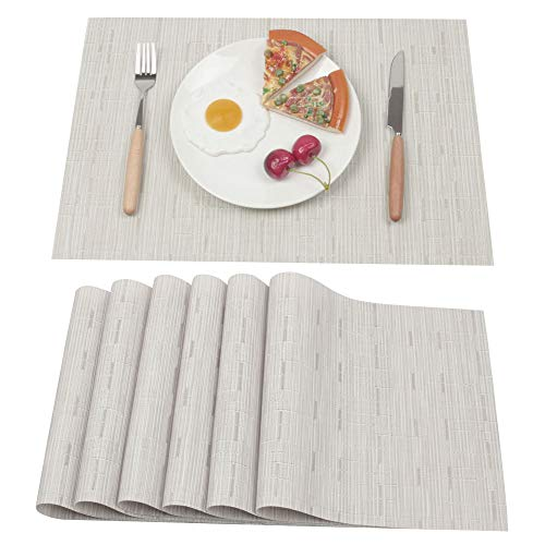 Ivalue Washable PVC Placemats Cream Plastic Place Mats for Kitchen Table Set of 6 Non Slip Durable Woven Vinyl Dining Table Mats Set (Set of 6, ST-Cream)