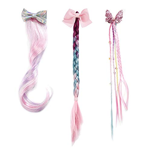 PinkSheep Wigs for Girls, Princess Dress up Braided Wig, Mermaid Wig for Girl 3 PC Set Pink Green ()