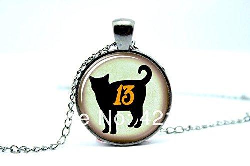 (Pretty Lee 2015 Fashion Gun Black Cat Necklace Cute Halloween Jewelry Black Pendant 13 Thirteen Christmas)