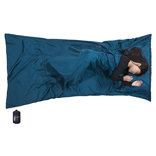 """Silk Sleeping Bag Liner by Browint, Silk Sleep Sack, Extra Wide 87""""x43"""", Lightweight Travel Sheet for Hotels, More Colors for Option, Reinforced (Silk Sleeping Sack)"""