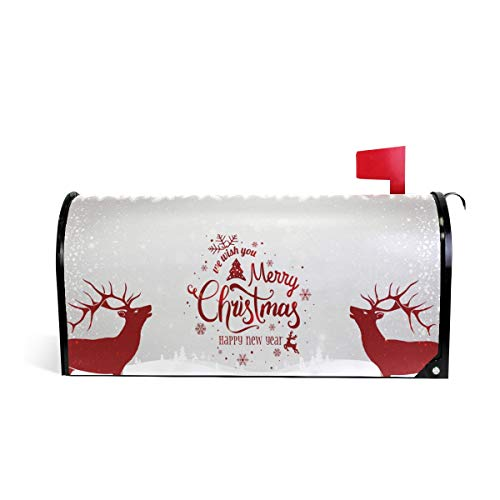 ZZKKO Magnetic Mailbox Covers Christmas and Happy New Year Holiday Winter Deer Letter Box Cover Colorful Painting Garden Outdoor Decorations,20.8x18 Inch Standard Size,Multicolor (Mailbox Personalized Cover)