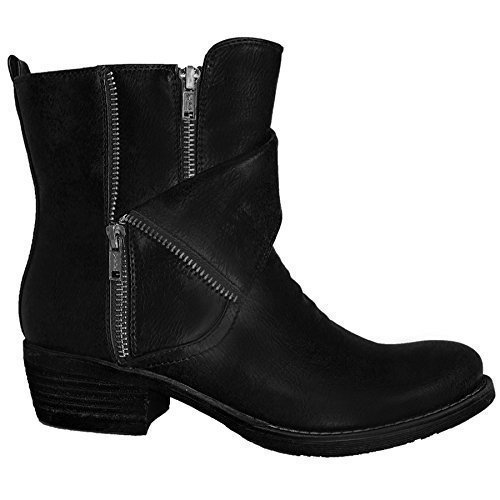 Chunky Ankle Faux Low Ladies Warm Pu Sapphire Black Double Zip Heel Leather Boots Women's PxqBAw86