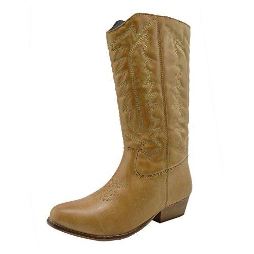 Mitad Zapatos Equitación Cowboy Talón Para Boots La Mujer Zip De De Pantorrilla sb Bloque Señoras Biker Tan La Ups De TgI4qIw