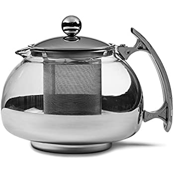 Chef's Star Premium Glass Tea Pot & Infuser - Stainless Steel, 20 oz,Stainless Steel,