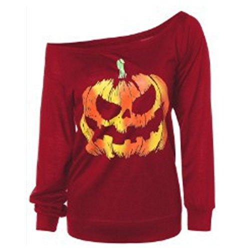 Bts Wearing Halloween Costumes (Halloween Pumpkin Sweaters For Women Print Off Shoulder Pullover Tops Slouchy Blouse Pumpkin Print Long Sleeve Sweaters)