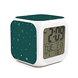 Hymanwasqhft Sunrise Alarm Clock Triangle - Digital LED Clock with 7 Colors Changing Light Bedside Clock for Boys Girls Bedroom Touch Control and Snoozing