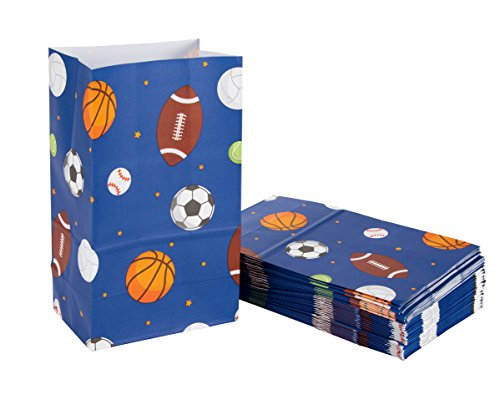 Party Treat Bags 36 Pack Gift Bags Sports Party Supplies Paper Favor Bags Recyclable Goodie Bags For Kids Sports Themed Design 5 2 X 8 7 X 3 3 Inches
