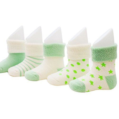 VWU Baby Thick Cuff Cotton Socks 5-pack 7 Color Available Green 6-12 months