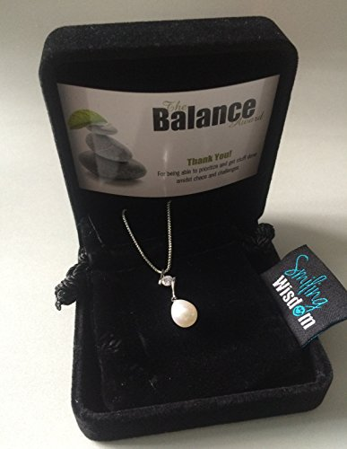 Smiling Wisdom - Balance Pearl Business Award - Pearl CZ Necklace - Gift For Any Woman Who Strives for Serenity, Zen and Harmony or Needs Reminder - Platinum & Silver