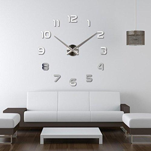 Wall Clock, Han Shi Wall Clock Fashion DIY Large 3D Number Mirror Wall Sticker Big Watch Home Decor Art Clock Waterproof Acrylic Digital Quartz Nice Quiet Clock (Silver)