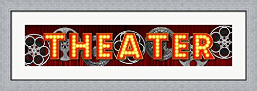 Theater Marquee by RetroPlanet Framed Art Print Wall Picture, Flat Silver Frame, 44 x 16 ()