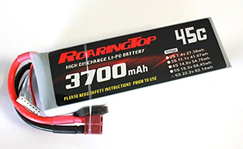 RoaringTop LiPo Battery Pack 45C 3700mAh 6S 22.2V with Deans Plug for RC Car Boat Truck Heli Airplane ()