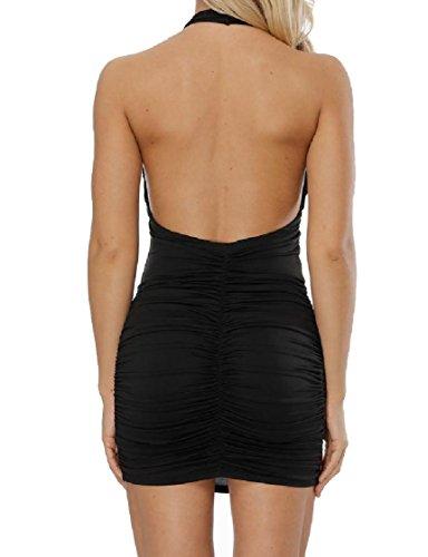 Coolred-femmes Col Cranté Sexy Dos Nu Élégante Robe De Hanche Paquet Licol Noir