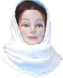 Knitted White Color Rayon Chenille Winter Balaclava Hood Neck Warmer Scarf
