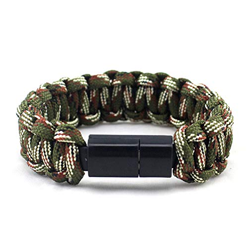 Topshion Sport Nylon Creative 8Pin USB Data Cable Bead Bracelet Charger Android Phone Weave