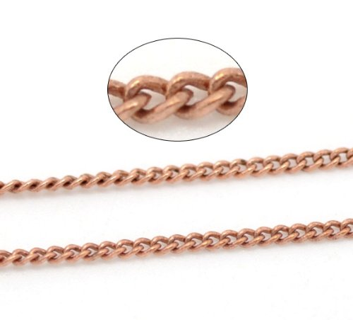 HOUSWEETY 10M Copper Tone Link-Soldered Curb Chains 1x1.5mm