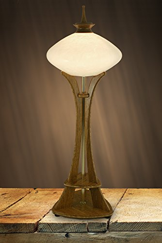 (Seattle Space Needle Accent Lamp with White Marbled Art Glass, Carmel Bamboo Base, and Hand-Turned Walnut Finial)