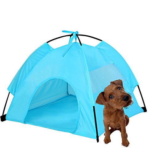 Gracelove Waterproof Portable Folding Small Dog House Indoor Outdoor Tent (Blue)