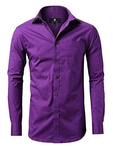 diig Men Slim Fit Long Sleeve Dress Shirt, Purple 16