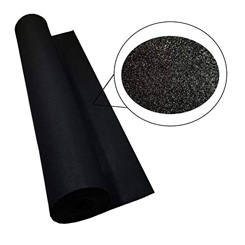 Bass Rockers Heavy Duty Black Carpet for Speaker Boxes and Truck Liner Fade and Mildew Resistant 25 Yards (Black, 1 Yard)