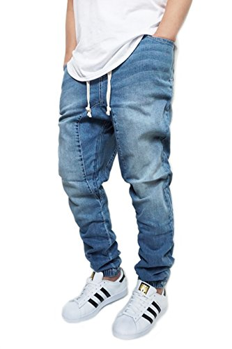 Victorious URBANJ Men's Indigo Drop Crotch Denim Jogger Pants