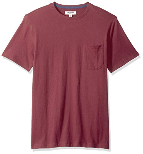 Goodthreads Men's Short-Sleeve Sueded Jersey Crewneck Pocket T-Shirt, Burgundy, X-Large