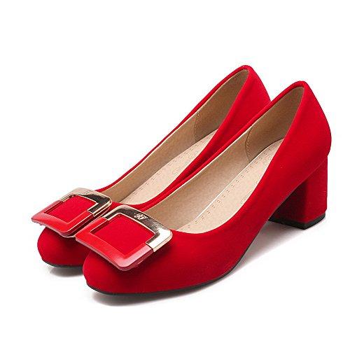 AllhqFashion Mujer Puntera Redonda Puntera Cerrada Tacón Medio Esmerilado Sólido Sin cordones De salón Rojo