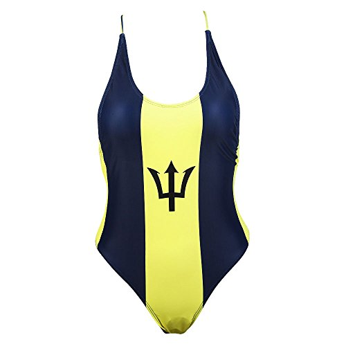 - VOARYISA Women's One Piece Caribbean Flag Rasta Monokini Thong Swimsuit Swimwear Bathing Suit (Large/12-14, Barbados)