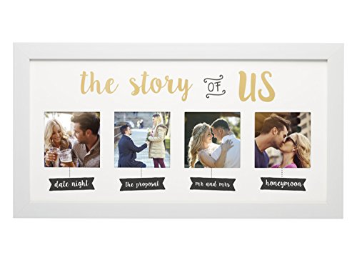(Kate & Milo 'The Story of Us' Photo Frame, White, Cherish Your Love Story, The Perfect Bridal Shower Gift)